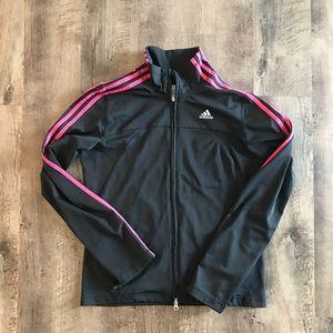 Adidas black & pink zip up track jacket